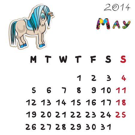 Calendar 2014 year of the horse, graphic illustration of May monthly calendar with toy doodle and original hand drawn text Vector