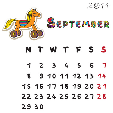 Calendar 2014 year of the horse, graphic illustration of September monthly calendar with toy doodle and original hand drawn text Vector