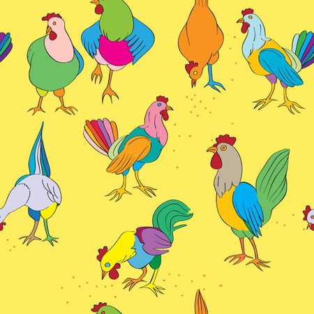 Hens and roosters seamless pattern, hand drawn illustration of colored farm birds on a yellow background Vector
