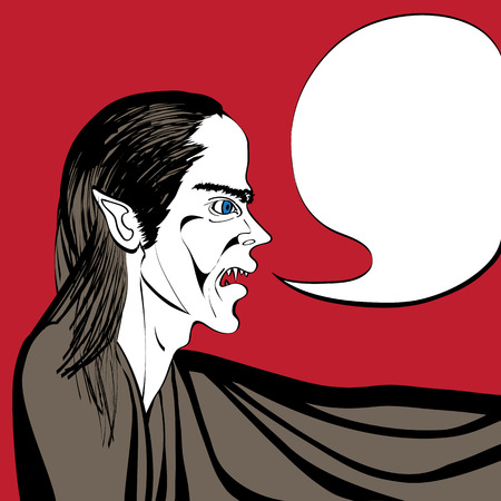 Hand drawn illustration of a vampire speaking, pop art comic scene with speech bubble on a red background Vector