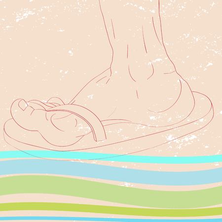 sand background: Hand drawn iilustration of a foot profile with flip flops over a grungy sand background