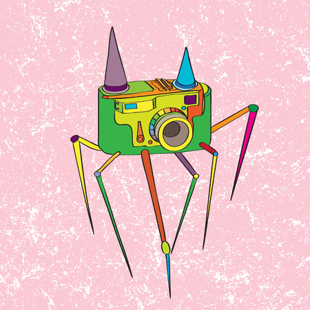 Hand drawn fantastic doodle illustration of a vintage camera with legs over a grungy pink background, surrealist style original art work