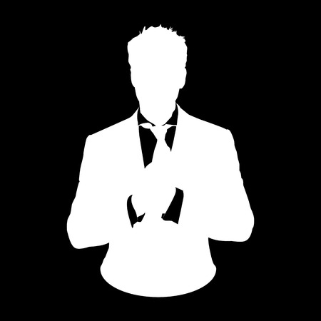 userpic: Graphic illustration of a man in business suit as user icon, stencil avatar