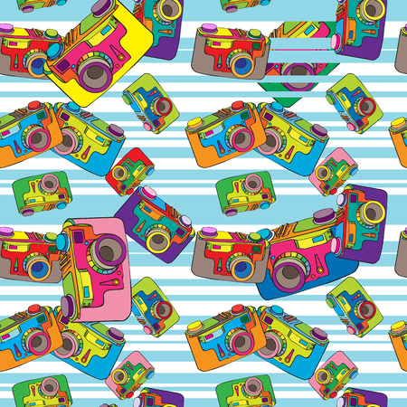 Hand drawn doodle illustration of a seamless pattern with a vintage camera in different colors over a striped background Vector