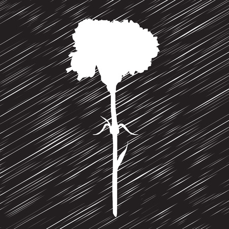 Carnation silhouette, stencil drawing over a textured background Vector