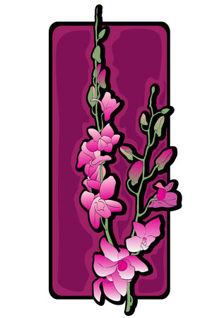 Long orchids clip art over purple label isolated on white Vector