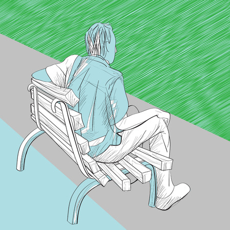 bench alone: Hand drawn illustration of a men on a bench, artistic composition