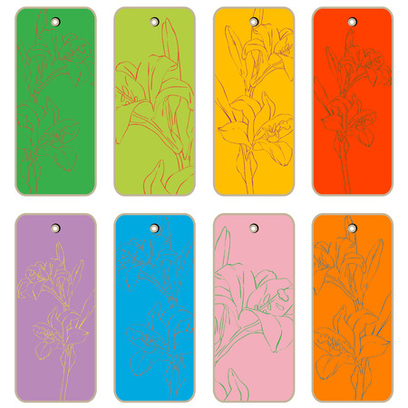 apparel part: Price tags collection with lily flowers, hand drawn cartoon illustrations over colored backgrounds, series isolated on white Illustration