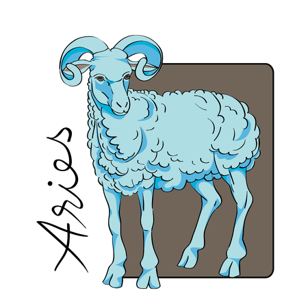 illustratin: Aries sign clip art with original hand drawn text isolated on white, illustratin of a blue ram