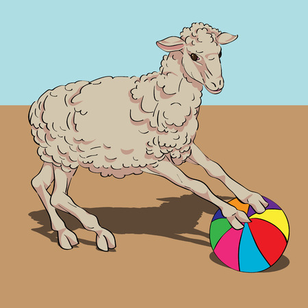 Sheep playing the ball card, hand drawn illustration over a vintage colored background Vector