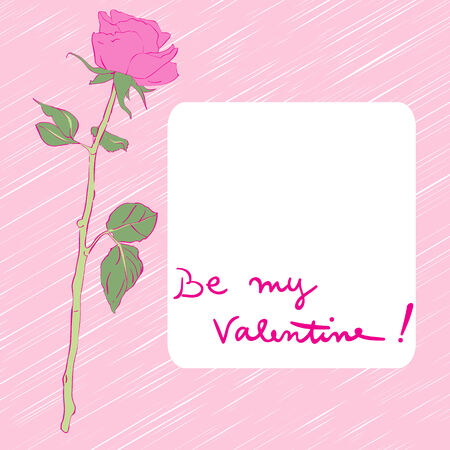 february 1: Valentines Day card with rose, hand drawn illustration over a vibrant pink background and text over white label