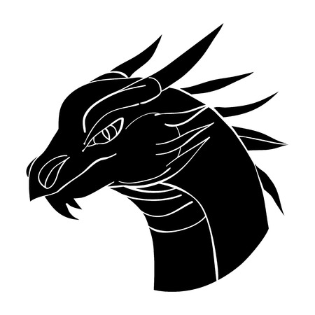 dragon head: Dragon head avatar, Chinese zodiac sign, black silhouette isolated on white