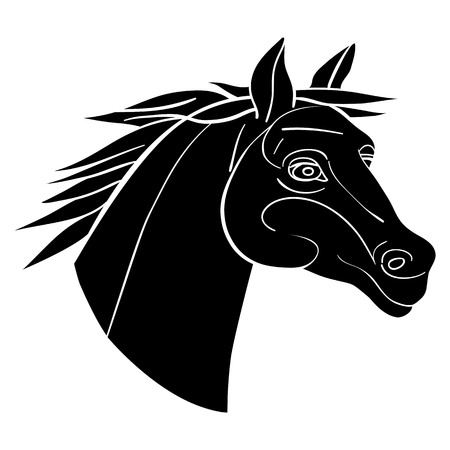 undomesticated: Horse head avatar, Chinese zodiac sign, black silhouette isolated on white