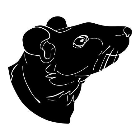 rata caricatura: Avatar cabeza de la rata, signo del zodiaco chino, silueta negro aislado en blanco