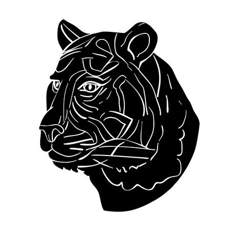 undomesticated: Tiger head avatar, Chinese zodiac sign illustration, black silhouette isolated on white Illustration