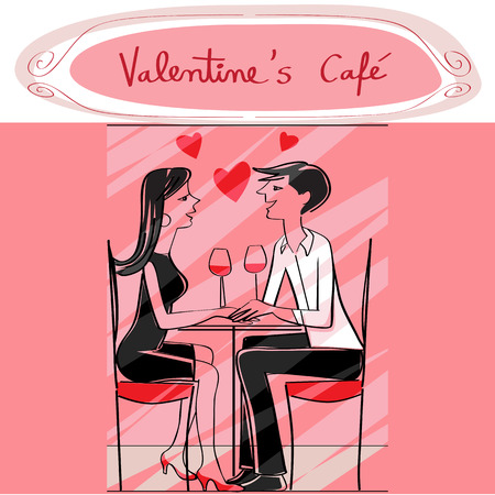 Hand drawn illustration of two lovers at the cafe, talking and drinking wine, pink Valentine's Day card