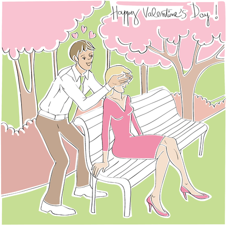 covering eyes: Valentines Day card with man surprising his girlfriend, hand drawn cartoon illustration of two lovers in a park