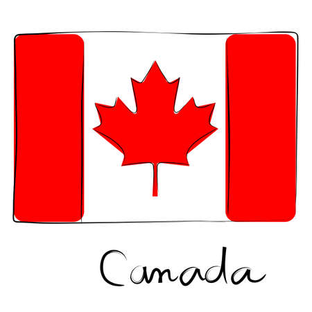 canada country: Canada country flag doodle with text isolated on white Illustration