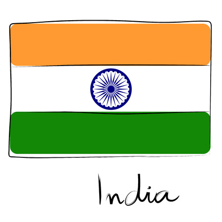 India country flag doodle with text isolated on white Illustration