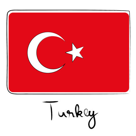 coran: Turkey country flag doodle with text isolated on white Illustration
