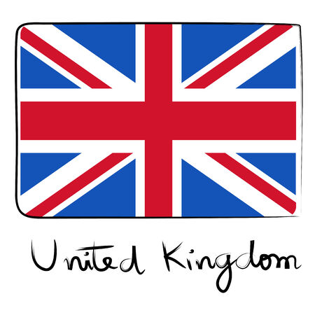 kindom: United Kindom country flag doodle with text isolated on white Illustration