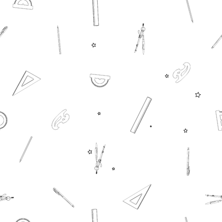 sparse: Sparse seamless pattern with school supplies, doodle illustrations of geometry drawing instruments over white background