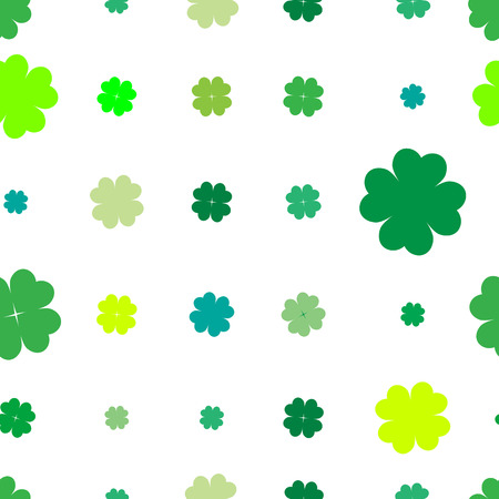 leaved: Sparse seamless pattern with four leaved shamrocks, Saint Patricks Day illustration over white