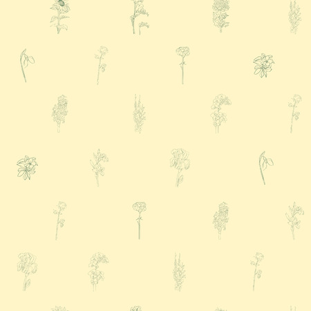 sparse: Sparse seamless pattern with different flowers, hand drawn doodles on a yellow background