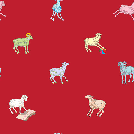 sparse: Sparse seamless pattern with different sheeps, hand drawn cartoons on a red background Illustration