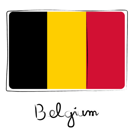 Belgium country flag doodle with text isolated on white