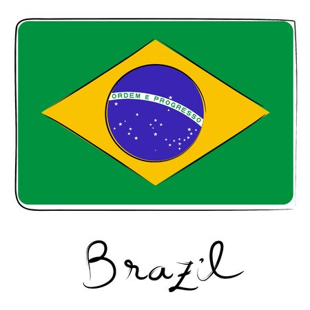 brazil country: Brazil country flag doodle with text isolated on white Illustration