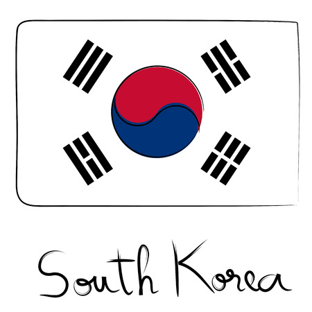 ching: South Korea country flag doodle with text isolated on white Illustration