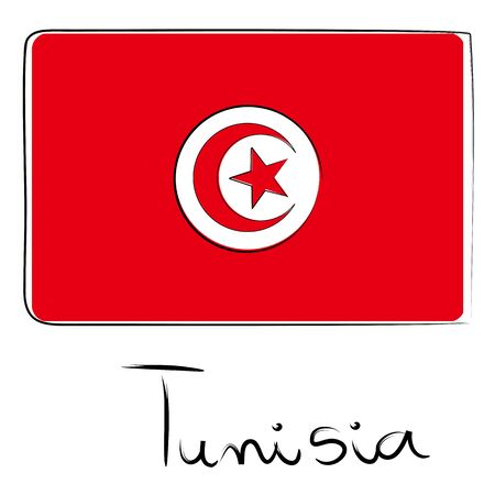 coran: Tunisia country flag doodle with text isolated on white