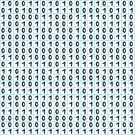 math paper: Binary code seamless pattern, hand drawn figures on a math paper background