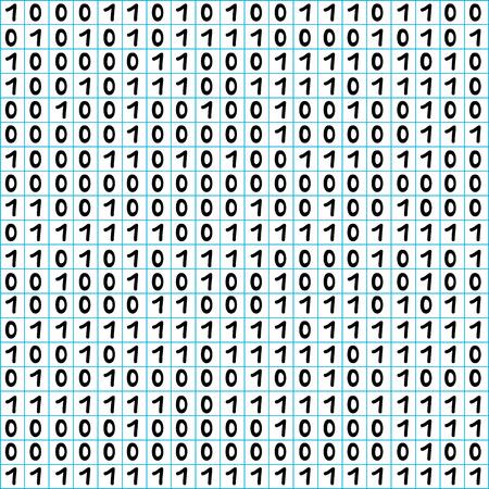 nulo: C�digo binario sin patr�n, figuras dibujadas a mano sobre un fondo de papel de matem�ticas