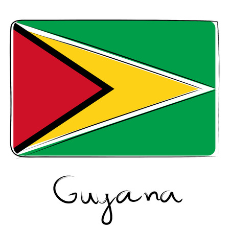 Guyana country flag doodle with title text isolated on white photo