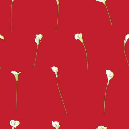 sparse: Calla sparse pattern on a red background Stock Photo