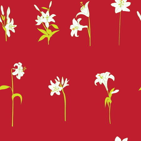lilium: Lilies sparse pattern on a vibrant red background Stock Photo