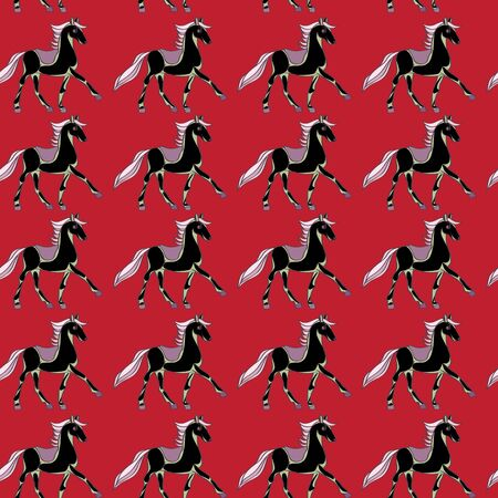 trot: One horse seamless pattern, hand drawn cartoon illustration over red background Stock Photo