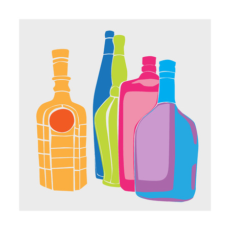 cartoon bottle: Cartoon hand drawn illustration of a group of bottles of alcohol, five objects colored composition
