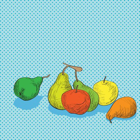 food art: Hand drawn illustration of a composition with fruits, apples and pears over a Pop Art background with dots