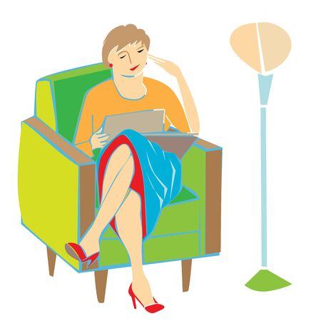 woman middle age: Woman reading or watching pictures sitting on an armchair, hand drawn cartoon illustration isolated on white