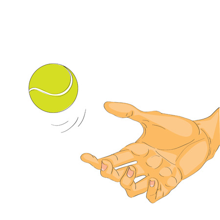 catching: Cartoon illustration of a hand catching or throwing a tennis ball over a white background