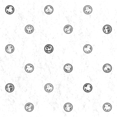 sparse: Black and white sparse pattern with zodiac signs, cartoon illustrations over a grungy background