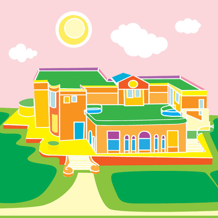 under view: Cartoon illustration of a large view over a funny building under the sunny sky