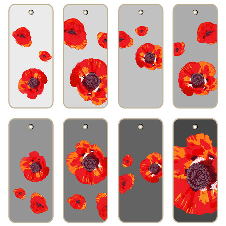 apparel part: Price tags collection with poppy flowers, hand drawn cartoon illustrations over different grey backgrounds, series isolated on white Illustration