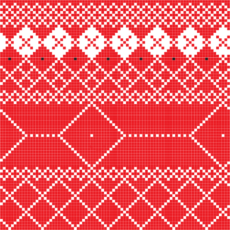 tradition: Freestyle pixel pattern inspired by Balkan traditional motifs Illustration