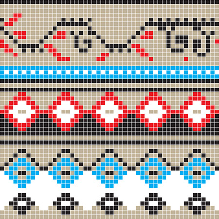 Freestyle pixel pattern inspired by Romanian traditional motifs Illustration