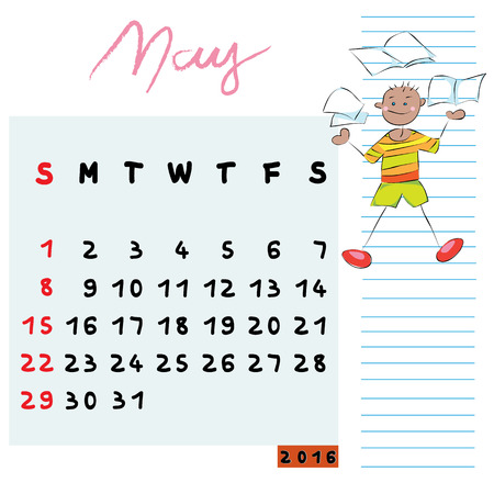 knowledgeable: Hand drawn design of May 2016 calendar with kid illustration, the knowledgeable student profile for international schools