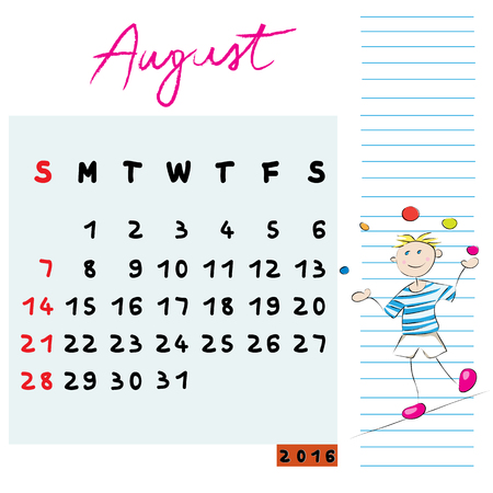 international students: Calendar design of August 2016 with the risk-taker student profile for international schools